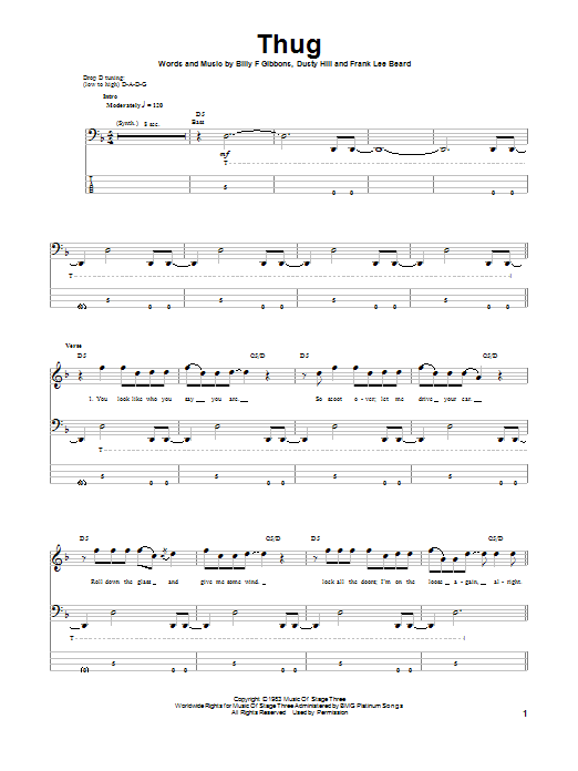 ZZ Top Thug sheet music notes and chords. Download Printable PDF.