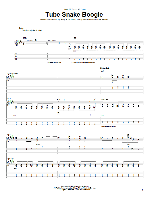 ZZ Top Tube Snake Boogie sheet music notes and chords. Download Printable PDF.