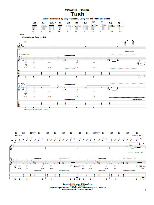 ZZ Top Tush sheet music notes and chords