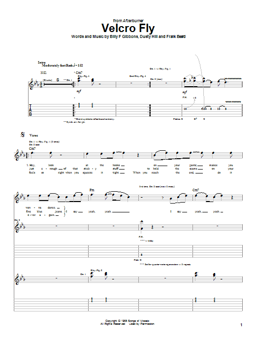 ZZ Top Velcro Fly sheet music notes and chords
