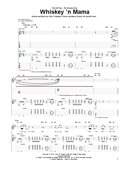ZZ Top Whiskey 'N Mama sheet music notes and chords. Download Printable PDF.